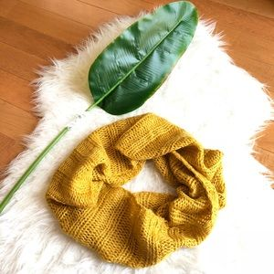 Mustard yellow metallic infinity scarf